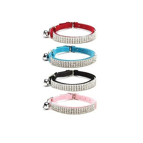 Kingkindsun Collar de Gato Ajustable de Terciopelo Suave Seguro con Diamantes de imitación para Perros pequeños