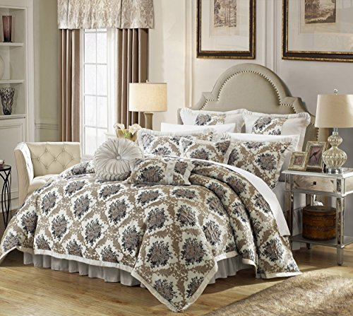 Contemporary Bedding Ensembles - Chic Home 9 Piece Le Mans Decorator Upholstery Quality Jacquard Motif Fabric Bedroom Comforter Set & Pillows Ensemble, Queen, Silver