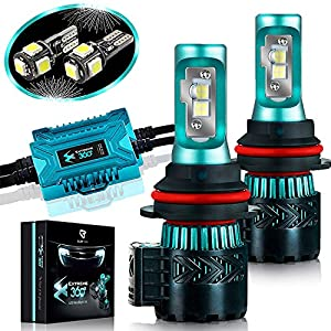LED Headlight Bulbs Conversion Kit - 9007(HB5) CREE XHP50 Chip 12000 Lumen /Pair 6K Extremely Bright 68w Cool White 6500K For Bright & Greater Visibility 2 Year Warranty by Glowteck