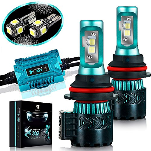 (Glowteck LED Headlight Bulbs Conversion Kit - 9007(HB5) CREE XHP50 Chip 12000 Lumen/Pair 6K Extremely Bright 68w Cool White 6500K For Bright & Greater Visibility 2 Year)