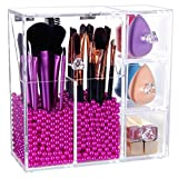 PuTwo Makeup Organizer With 2 Make Up Brush Holders and 3 Drawers All In One Case with Free Rosy Pearl