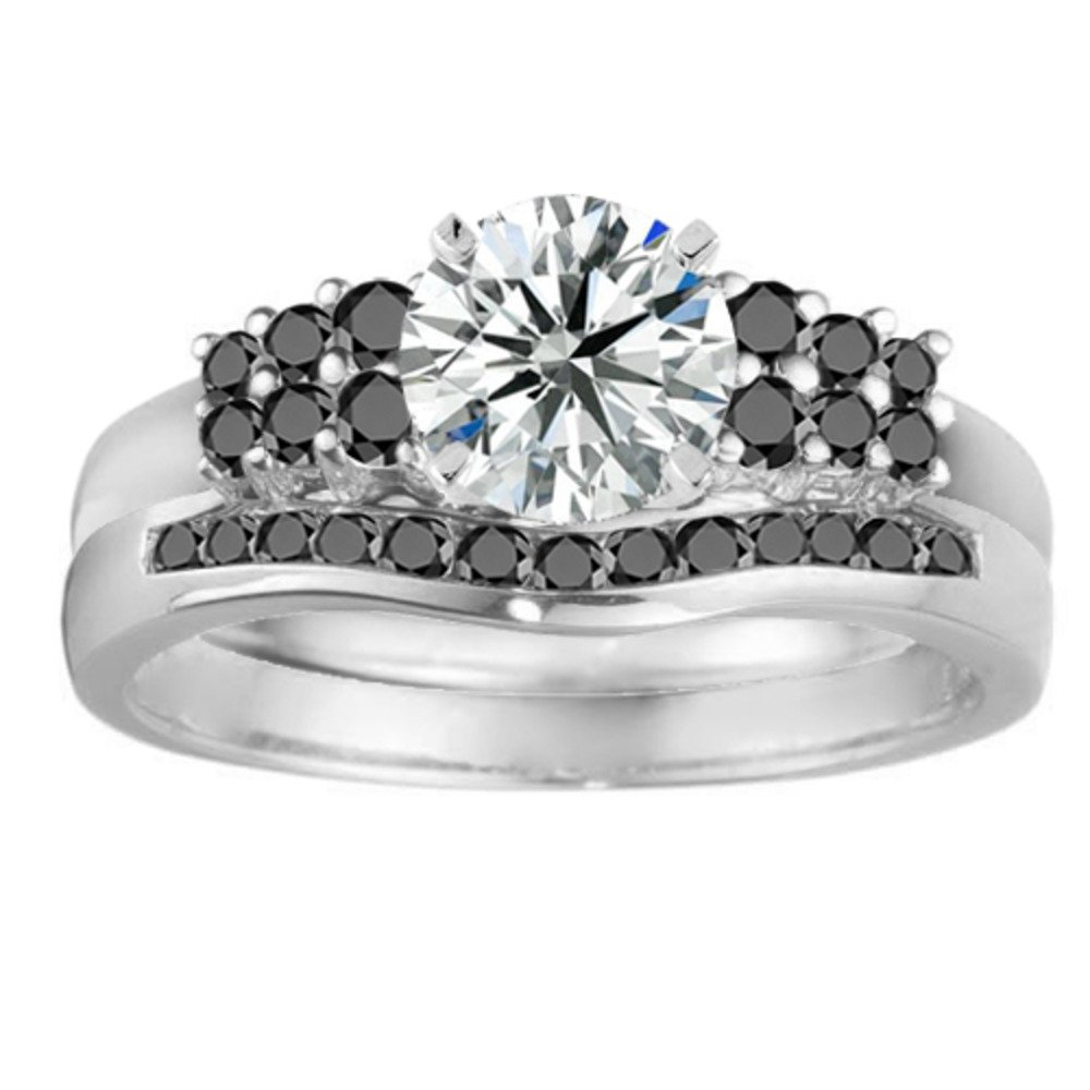 2 Piece Bridal Set: Silver Black Diamonds Wrap & 1 Ct Silver CZ Solitaire Size 3 To 15 in 1/4 Sizes by TwoBirch