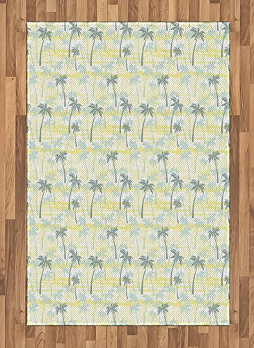 Lunarable Palm Tree Area Rug, Sunny Summer at the Hawaii Beach Ornament in Grunge Style, Flat Woven Accent Rug for Living Room Bedroom Dining Room, 4 x 5.7 FT, Sage Green Mint Green and Yellow by Lunarable