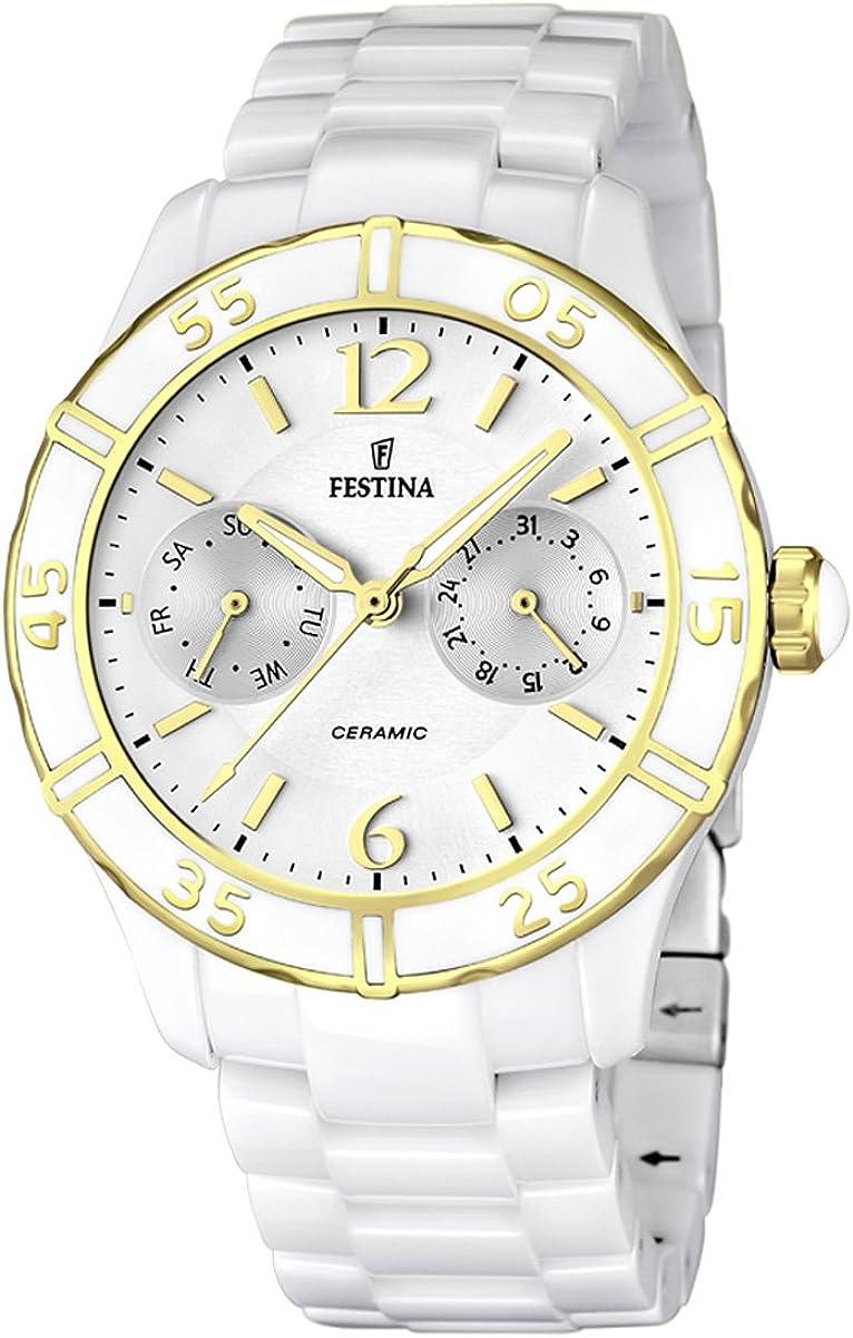 Festina F16634/1 - Reloj analógico de Cuarzo para Mujer con Correa de cerámica, Color Blanco
