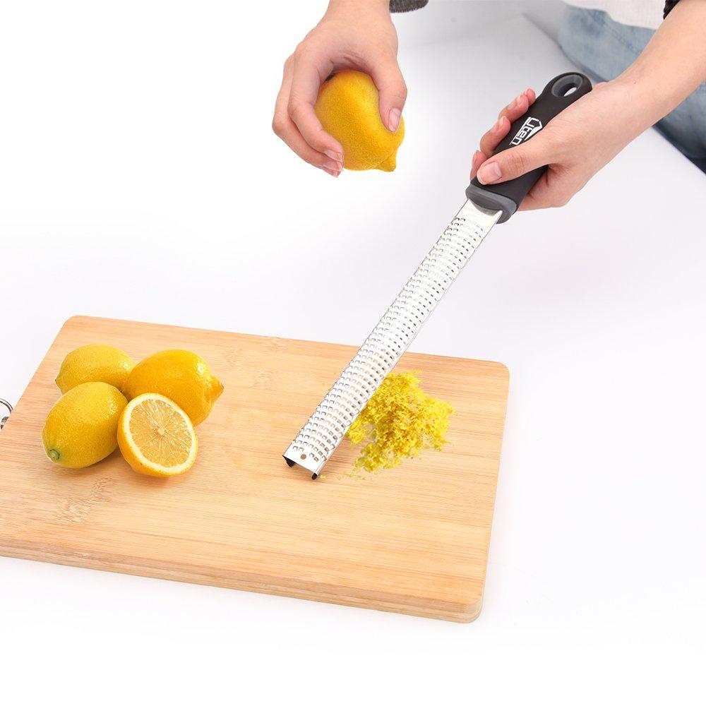 Uten Cheese Grater & Lemon Zester, Premium Kitchen Grater with Ergonomic Handle for Citrus, Ginger, Chocolate, Garlic, Nutmeg, Cinnamon ect