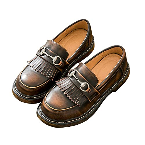 SXSHUN Mocasines Loafer para Niñas Zapatos de Cuero para Uniforme Colegio sin Cordones: Amazon.es: Zapatos y complementos