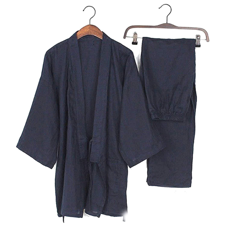 Navy HuaHua-Store Men Kimono Homewear Japanese Style Solid color Cotton Tops and Pants Sets Men Pajamas Loose Casual