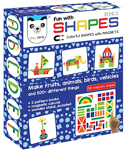 New Fun with Shapes Type 2 (58 colorful magnetic shapes)(*164 designs + magnetic board + wooden stand included *)