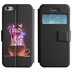 BONETI Diamond Folio Slim Leather Case Smart Cover with Built-in Stand & Window Function / Magical Colorful Cat / Apple Iphone 5 / 5S