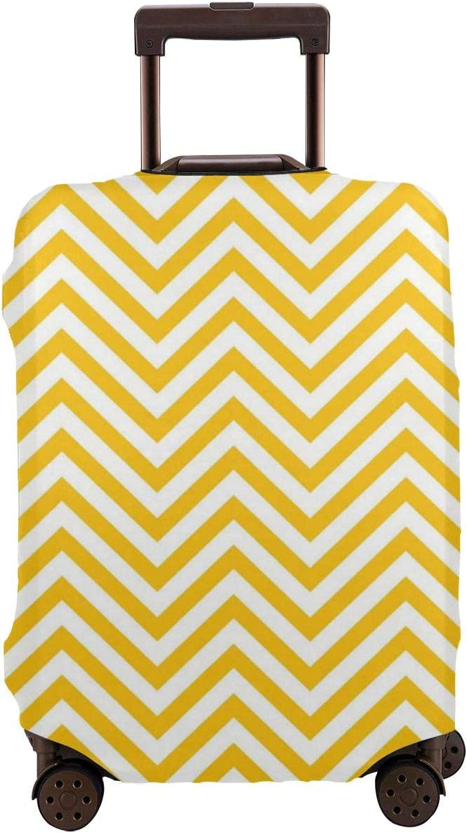 Yellow And White Chevron Zig-Zag Elastic Travel Luggage Cover,Double Print Fashion Washable Suitcase Protector Cover Fits 18-32inch Luggage