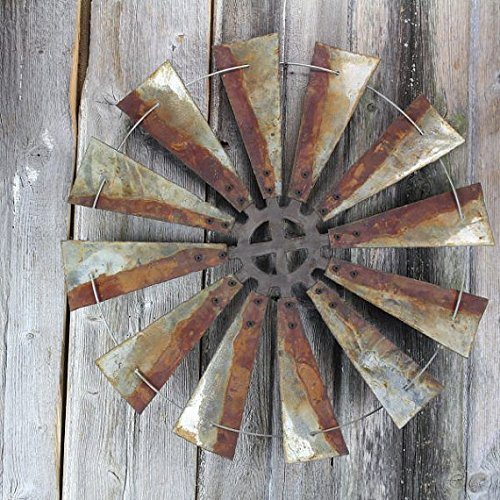This rusty, metal windmill makes the perfect rustic home decor statement - 24-inches