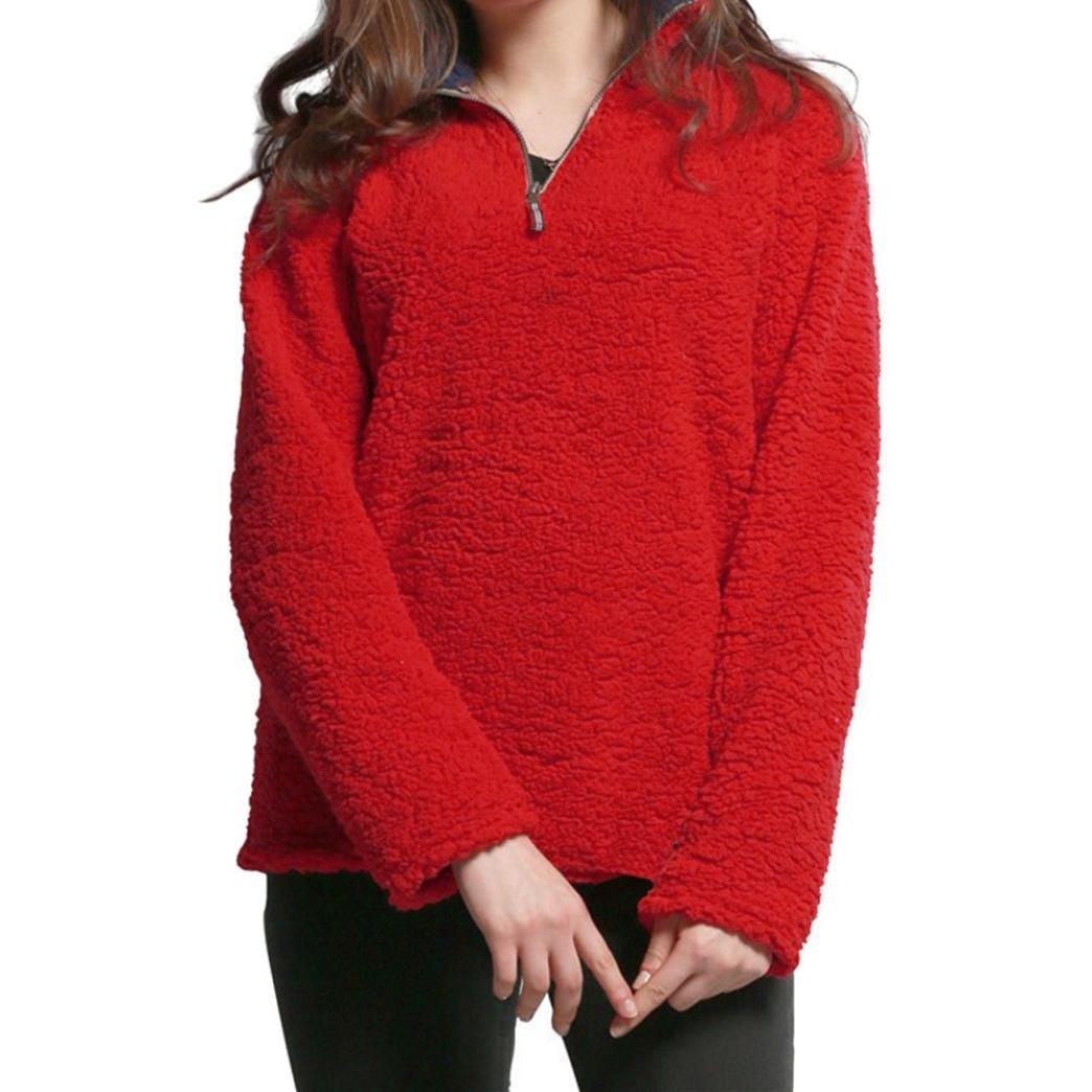 Joopee Womens Long Sleeve Lapel Solid Tops Winter Furry Warm Blouse Sweatshirt Zipper Fleece Pullover Tops