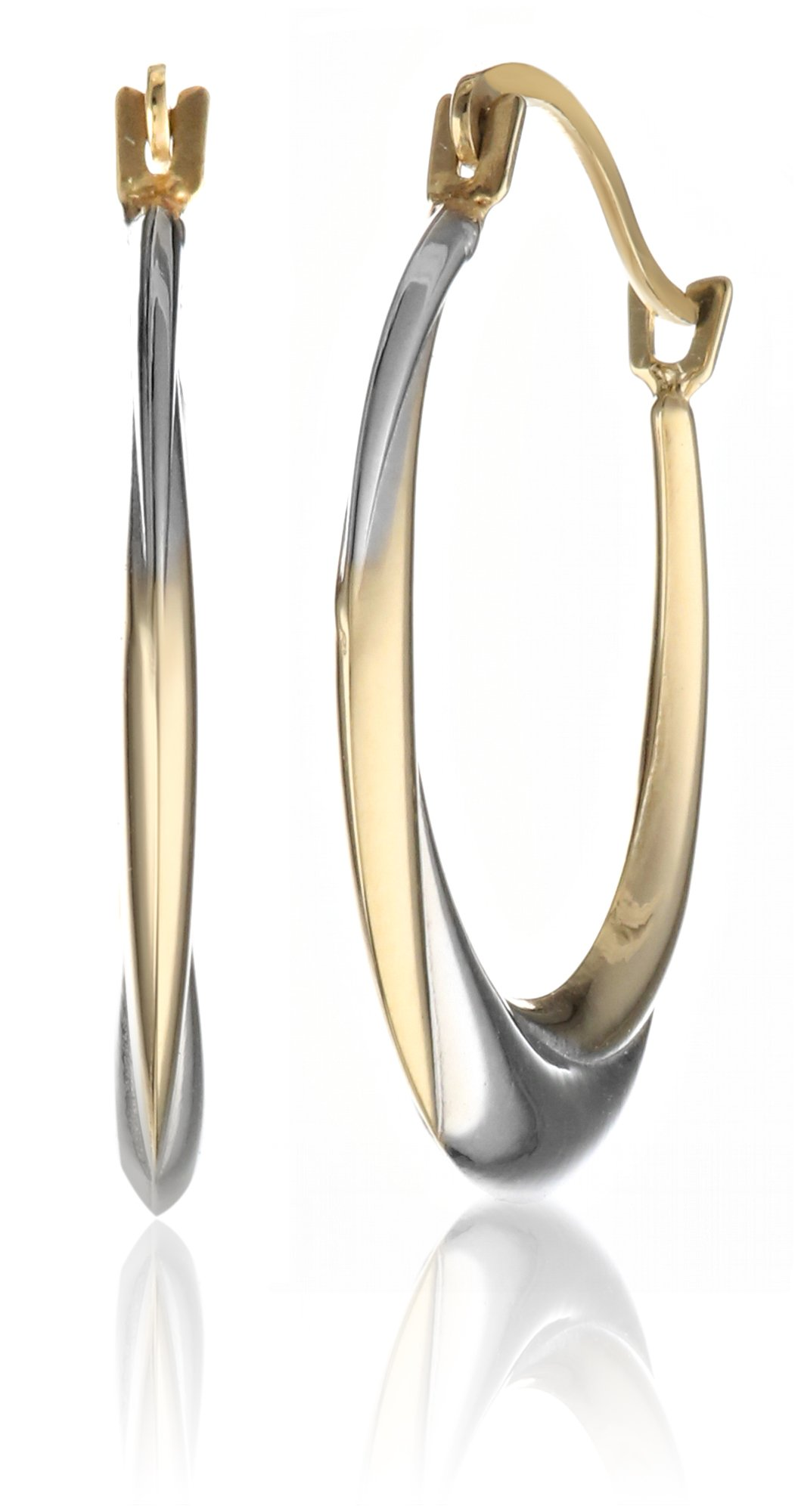 10k Yellow and White Gold Stampato Hoop Earrings