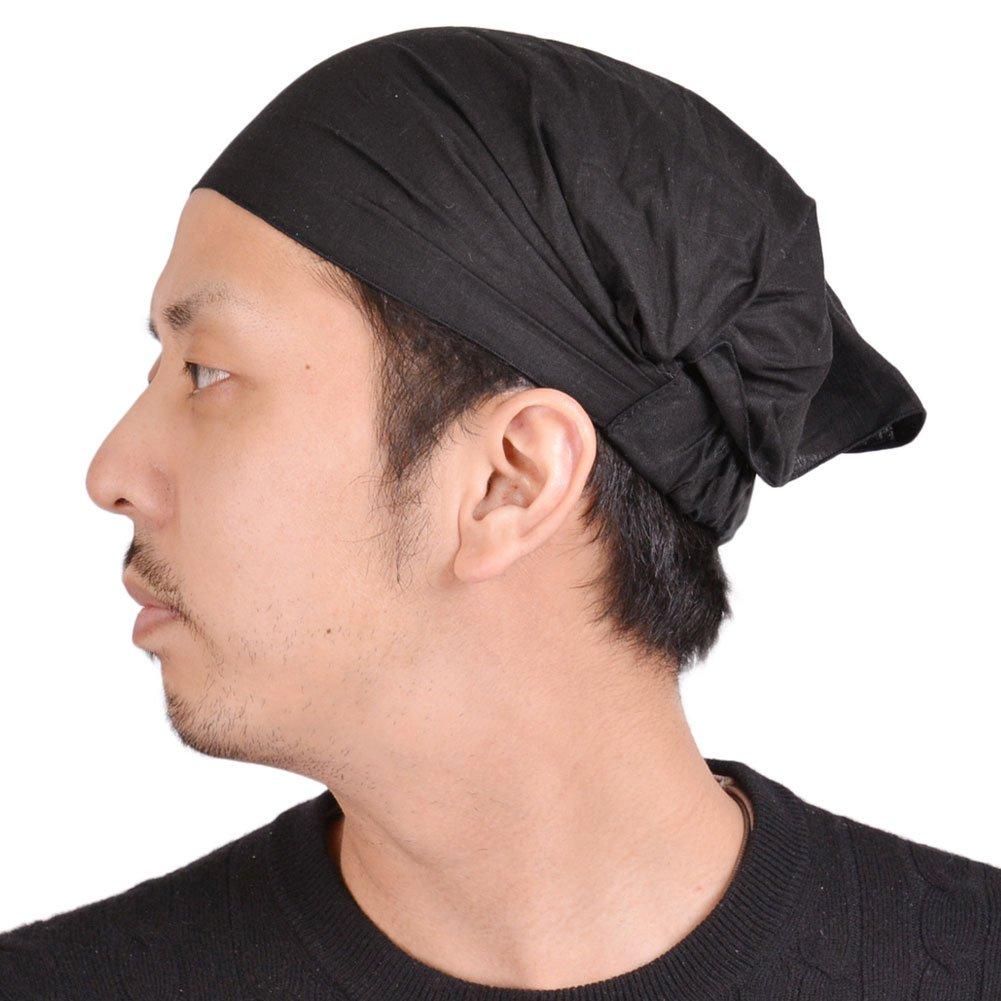 Casualbox Charm Womens Cotton Bandana Scarf Hair Band Head Cover Elastic Black