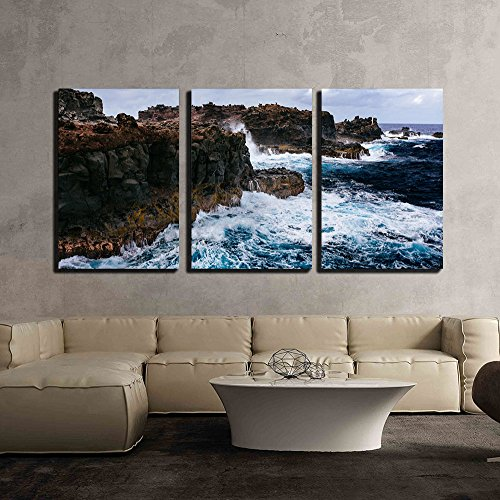 Sea Waves Lapping on the Seashore x3 Panels