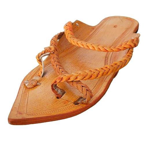 Tradicional de La India de La kalra Creaciones Hombres Piel Kolhapuri Zapatillas, Color Marrón, Talla 42.5 EU