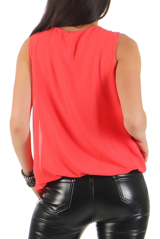Malito dam blus ärmlös | tunika med rund hals | lätt blusskjorta | elegant – tröja 6879 korall