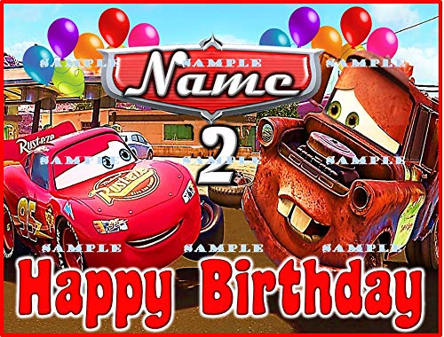 Cars the movie Mater Birthday party Edible Frosting Icing Cake Topper 1//4
