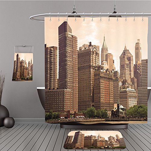 Uhoo Bathroom Suits & Shower Curtains Floor Mats And Bath Towels 22310518 cityscape of New York City in sepia For - New York In City Macy's