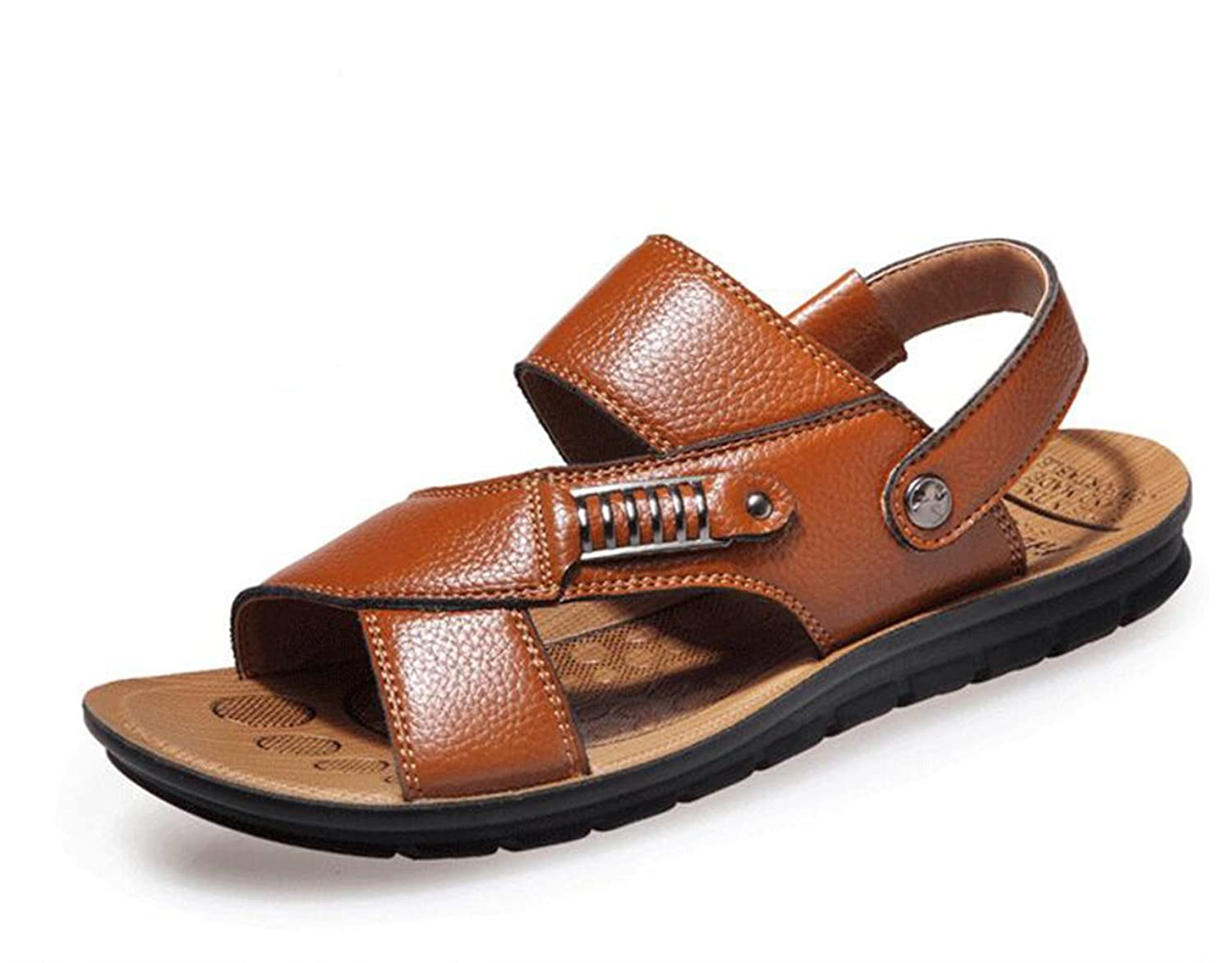 CANRO Men's Beach Shoes Leisure Pull on Sandals Leather Sandals - Khaki - 9  UK: Amazon.co.uk: Shoes & Bags
