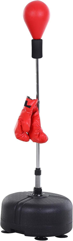 HOMCOM Saco de Boxeo de pie Punching Ball con Base Estable para Entrenar Reflejos y Coordinación Ajustable en Altura para Adulto y Adolescente Ф48x136-154cm