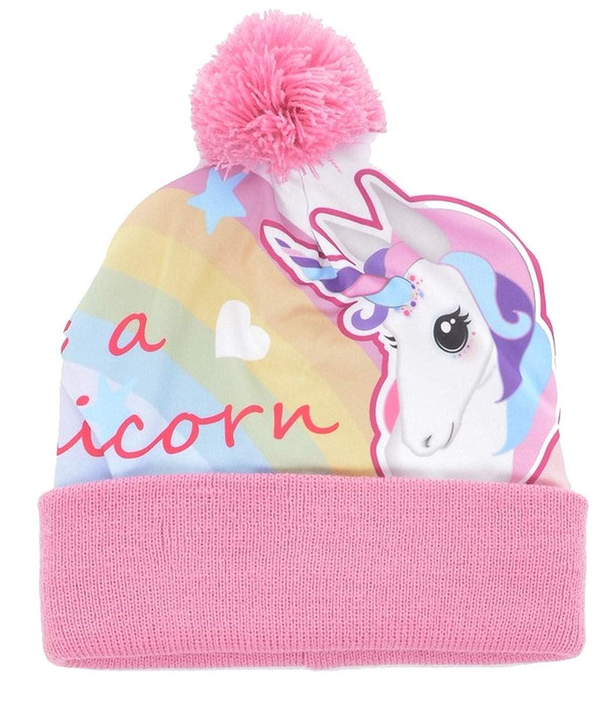 Girls Be A Unicorn Bobble Hat /& Gloves Set Pink Pom Pom Stretch Magic Soft Warm Knit Outdoor Play School Childs One Size