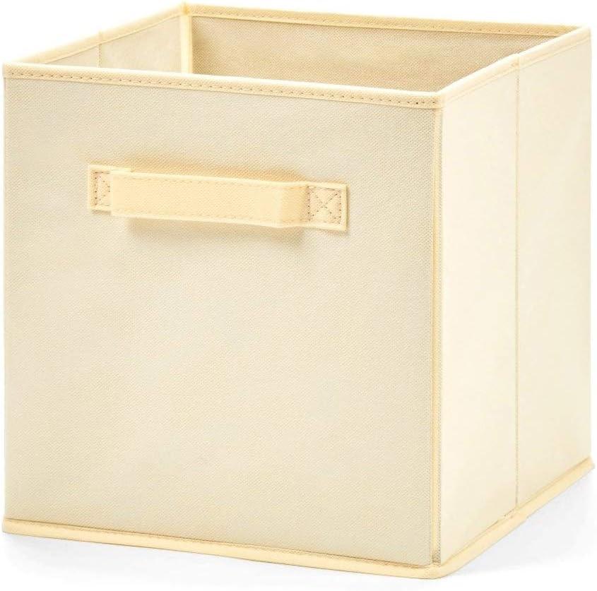 Cajas de Almacenamiento Plegables Tela Cesta c/úbica Ropa de Juguete Libros Alimentos Ropa de Cama Arte Artesan/ía Beige Color : Beige