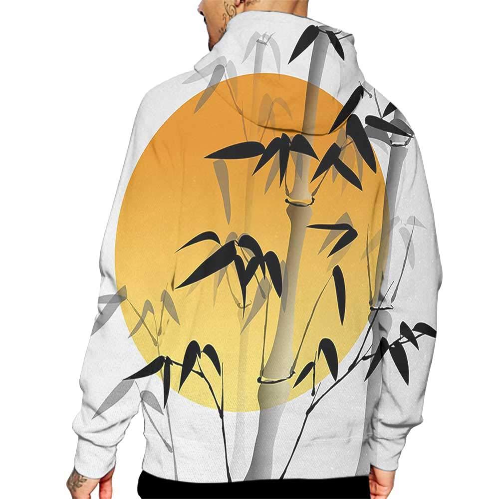 Hoodies Sweatshirt/Men 3D Print Bamboo,Bamboos Across The Sun Aesthetic Japanese Culture Lifestyle Mystic Artwork,Orange Black White Sweatshirts for Teens