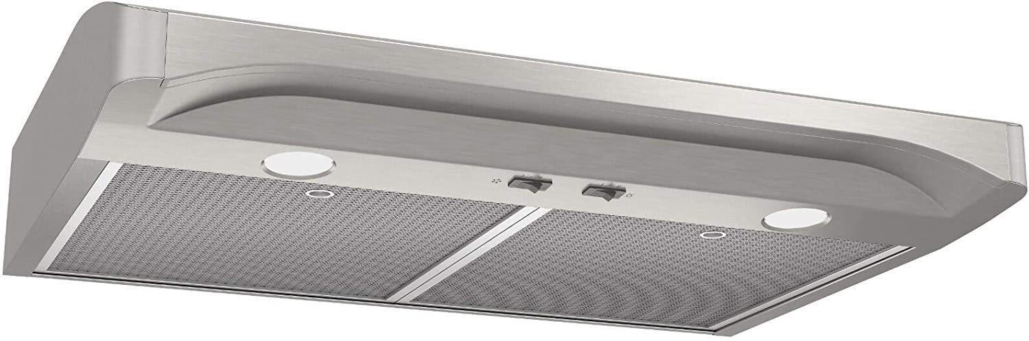 """Broan ALT136SS 36"""" Alta Series Under Cabinet Range Hood with 250 CFM, Micro-Mesh Filters, Halogen Lighting and Rocker Switch Controls in Stainless Steel"""