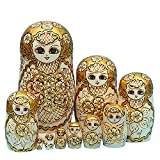 Toys : King&Light - 10pcs Golden of Plum pattern Russian Nesting Dolls Matryoshka Wooden Toys