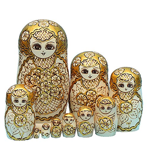 King&Light - 10pcs Gold Plum pattern Russian Nesting Dolls Matryoshka Wooden Toys