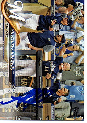 Jesus Aguilar Milwaukee Brewers 2018 Topps Team Signed Card by BiggSports