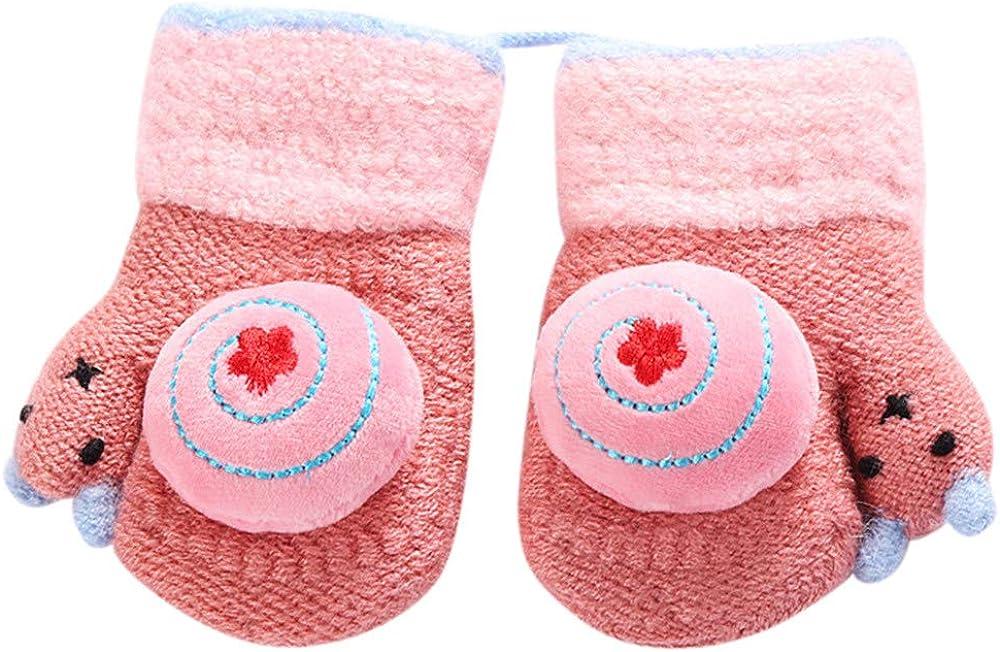 Hongxin Winter Gloves Baby Thicken Lanyard Cute Snails Decor Warm Knitted Mittens