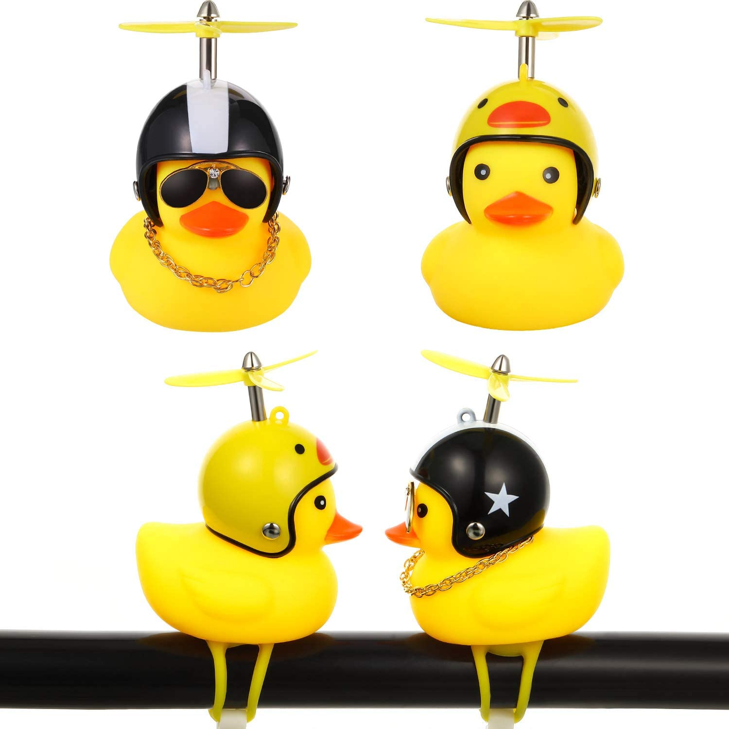 2 Pieces Kids Bike Bells Duck Bicycle Lights Bell Squeeze Horn Bicycle Bell Lovely Duck Bike Bell with LED Light, Rubber Duck Bicycle Accessories for Kids Adults Sport Outdoor