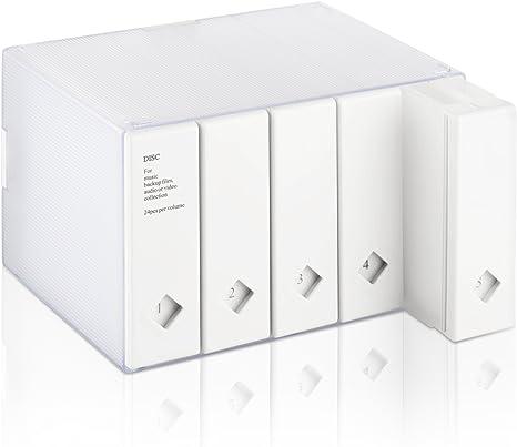 Caja de almacenamiento para CDs y DVDs de AhfuLife®, con colorido diseño, para ahorrar espacio blanco blanco 120 CDs: Amazon.es: Electrónica