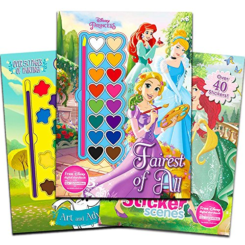 Disney Princess Paint With Water Super Set for Girls Kids -- 3 Deluxe Activity Books with Stickers, Paint and Brushes (Featuring Disney Princess and ()