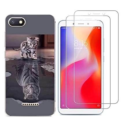 Xiaomi Redmi Mi 6/Redmi 6A Funda Gato y tigre Soft Transparente Gel TPU Silicona Protectorae Teléfono Carcasa para Xiaomi Redmi Mi 6/Redmi 6A con (2 ...