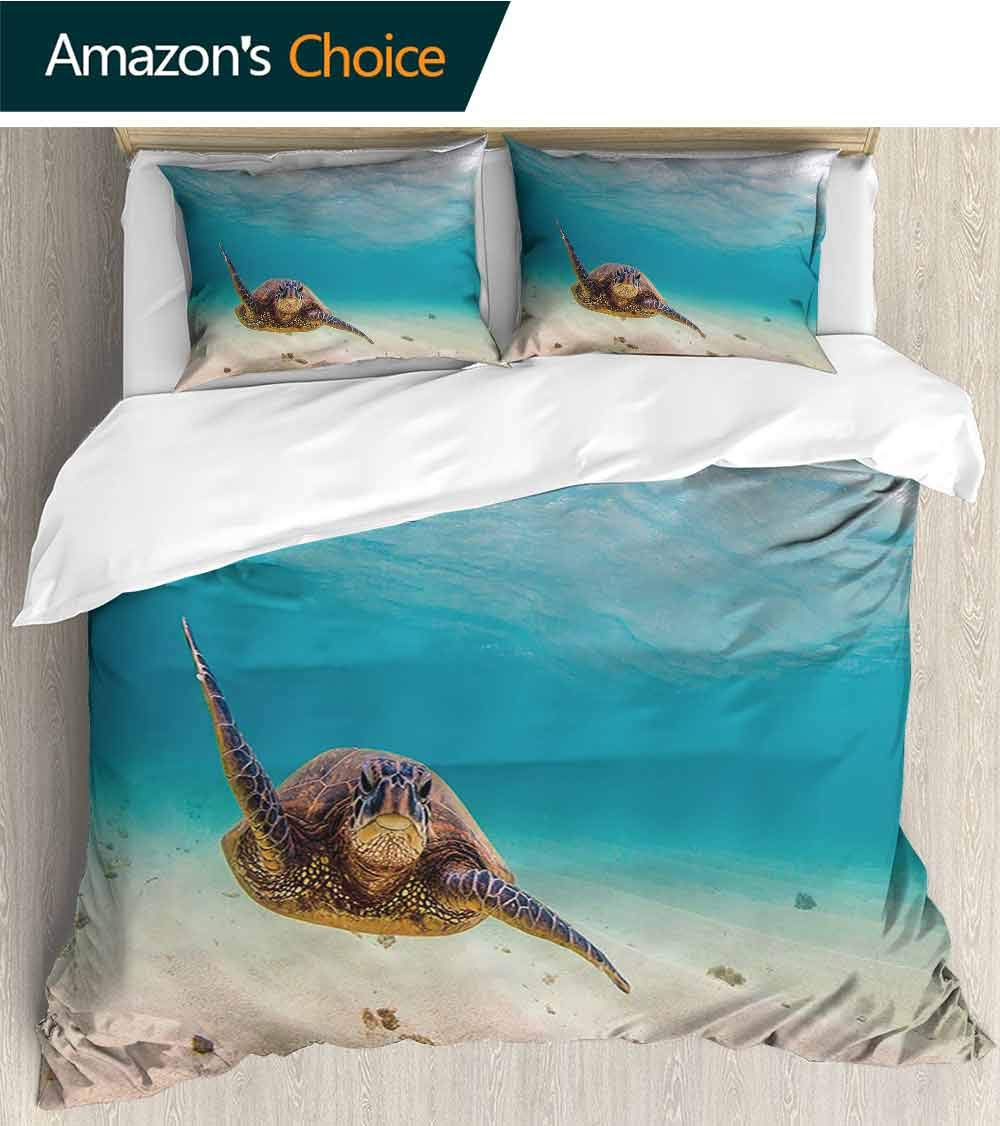 Bedding 3 Piece Bed Sheet Set Green Turtle Swim in Blue sea Water. Snorkeling with Tortoise. Crisp Bed Linen California King by shirlyhome