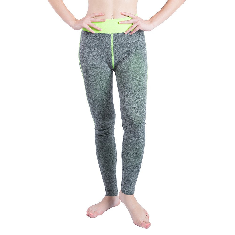 iLUGU Women Gym Yoga Patchwork Sports Running Fitness Leggings Pants Athletic Trouser(S,Green-19)