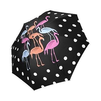 Flamenco negro diseño plegable paraguas sol lluvia paraguas de viaje diseño 100% poliéster