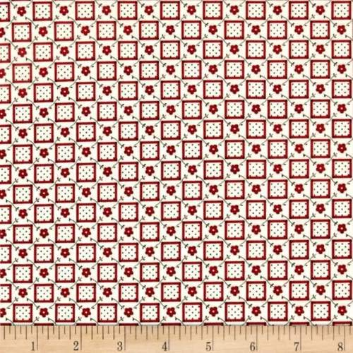 Aunt Grace Basket of Scraps Cotton Quilt Fabric Red Flowers by The Yard ()