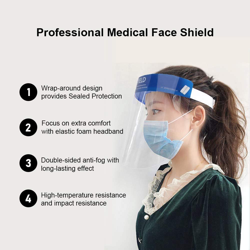 para Evitar la Saliva SEAPHY 5 pzas Visera Protectora para la Cara Gotas de pl/ástico Ligero Azul Polen y Polvo Ajustable Transparente