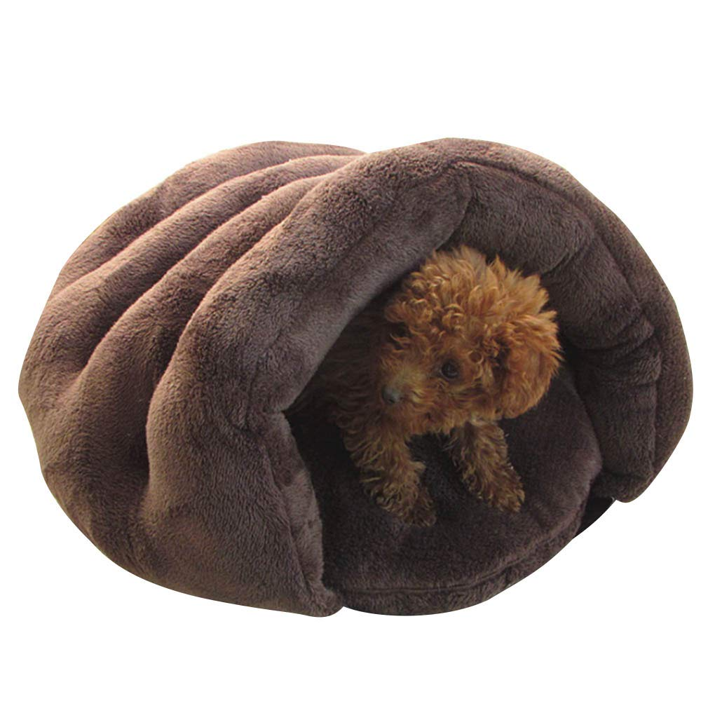 Brown M brown M ADSRO Dog Cat Bed Padded, Detachable Dog Sofa Super Soft Warm Pet Kennel Sleeping Bag Sleep Zone Persian Cat Rabbit Small Animals Shearling Bed