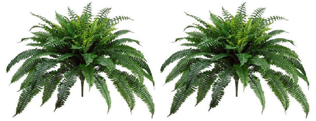 2 BOSTON FERN 48'' SPREAD X 90 LEAF BUSH PLANT ARTIFICIAL TREE FLOWER SILK DECOR