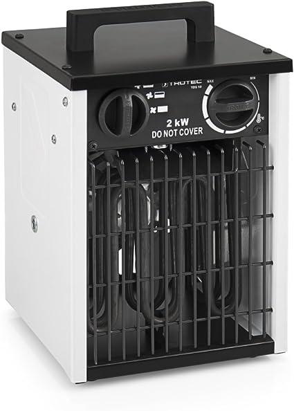 TROTEC Calefactor eléctrico TDS 10 tiene 3 estapas, entre 0,65KW hata 2KW