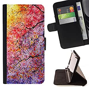 Momo Phone Case / Flip Funda de Cuero Case Cover - Colores ramas de árbol hojas - Samsung Galaxy S6 EDGE