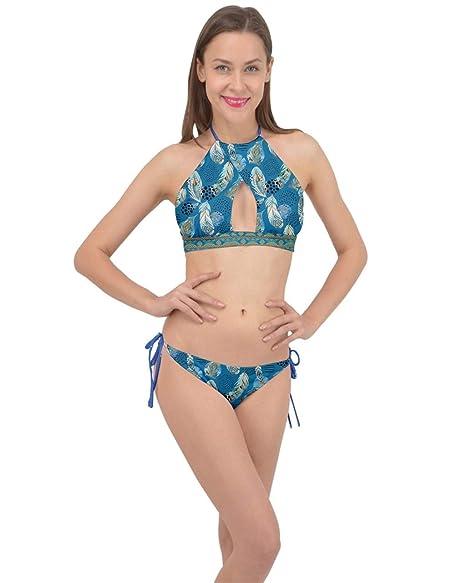 520108ec41 Amazon.com: CowCow Womens Bathing Suit Vintage Aztec Indigo Floral Cross  Front Halter Bikini Set, XS-3XL: Clothing