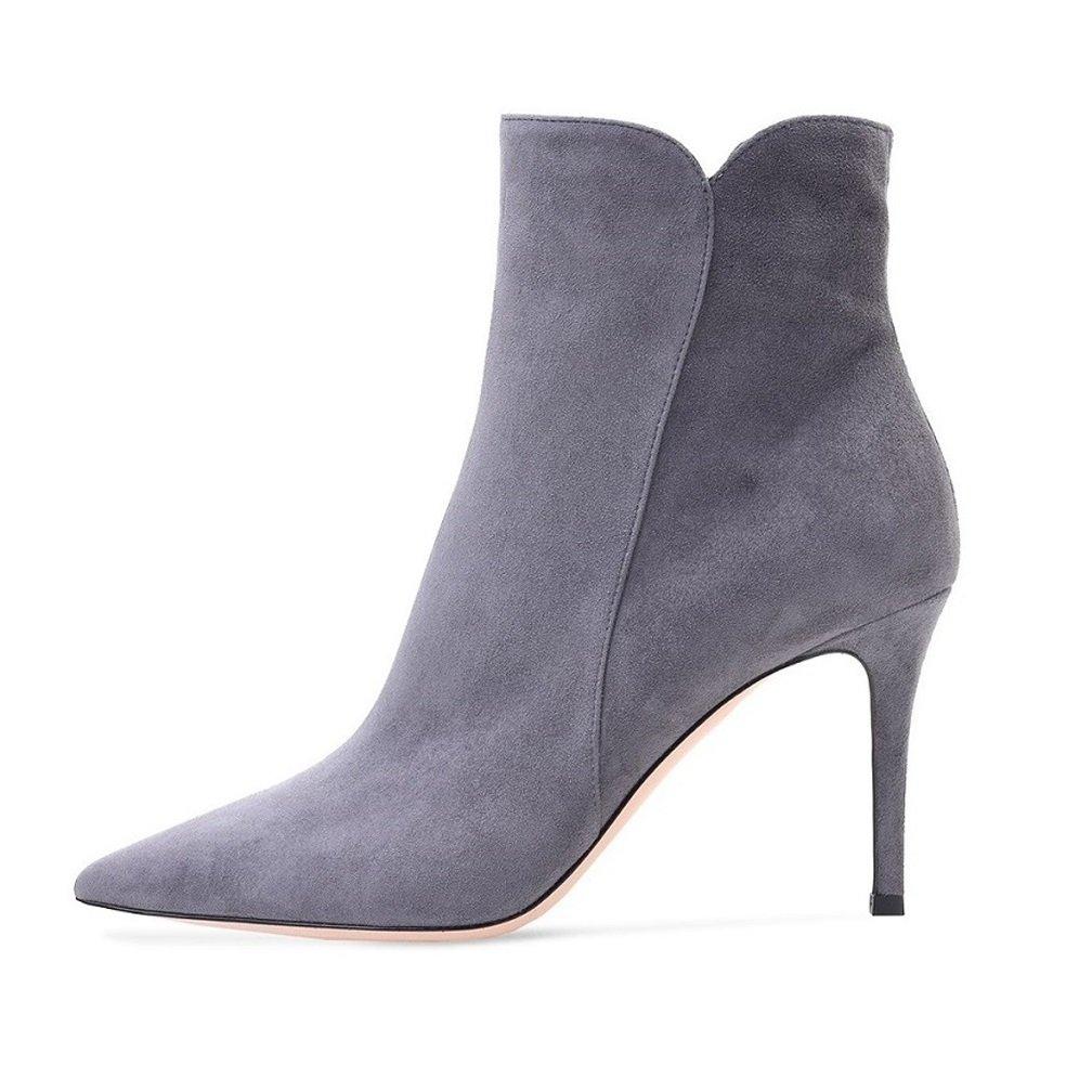 Soireelady Gris Bottine à Talon B07HCGQF2S Haut - Femme Chaussures - Bottes pour femmes - Hiver Chaussures Taille Grande Gris e071f6a - latesttechnology.space
