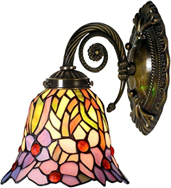 Lámpara de pared de estilo Tiffany/apliques de pared, diseño de flor de jardín Lámpara de pared de cobre, luces de pared para baños Cafe del hotel Club Corridor de luces de pared/aplique/lu: