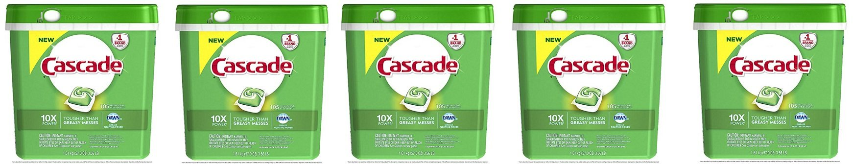 Cascade ActionPacs Dishwasher Detergent, Fresh Scent, 105 Count (Packaging may vary) (5-PACK)